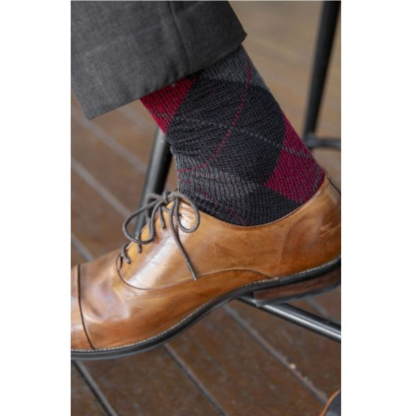 Wool/Polyester Argyle Patterned Men's Health Sock® (Style 62C)