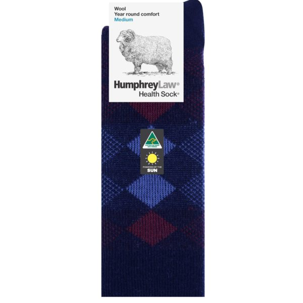 95% Wool Jacquard Patterned Men's Health Sock® (Style 12C)
