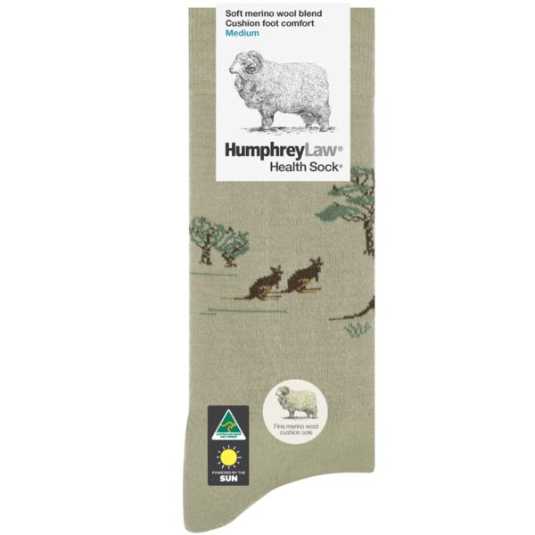 70% Fine Merino Wool Cushion Sole Tourist Health Sock® – Kangaroo Pattern (Style 65C)