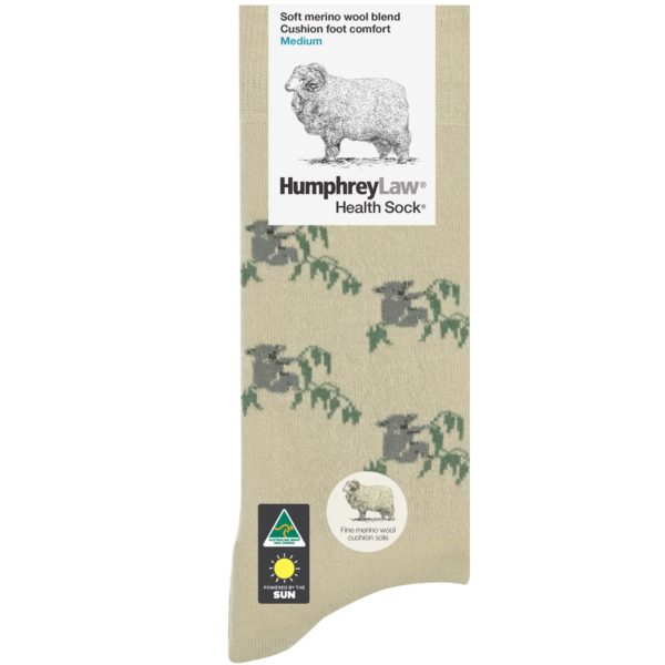 70% Fine Merino Wool Cushion Sole Tourist Health Sock® – Koala Pattern (Style 65C)