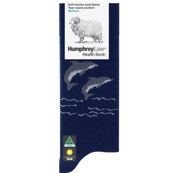 60% Fine Merino Wool Tourist Health Sock® – Dolphin Pattern (Style 85C)