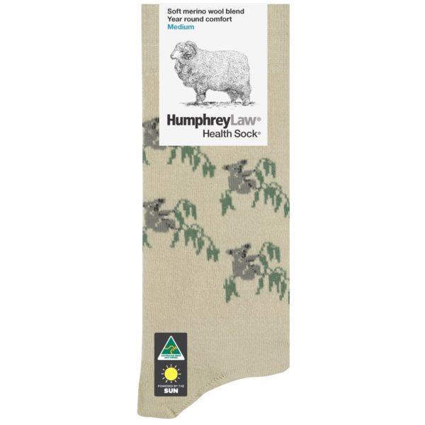 60% Fine Merino Wool Tourist Health Sock® – Koala Pattern (Style 85C)